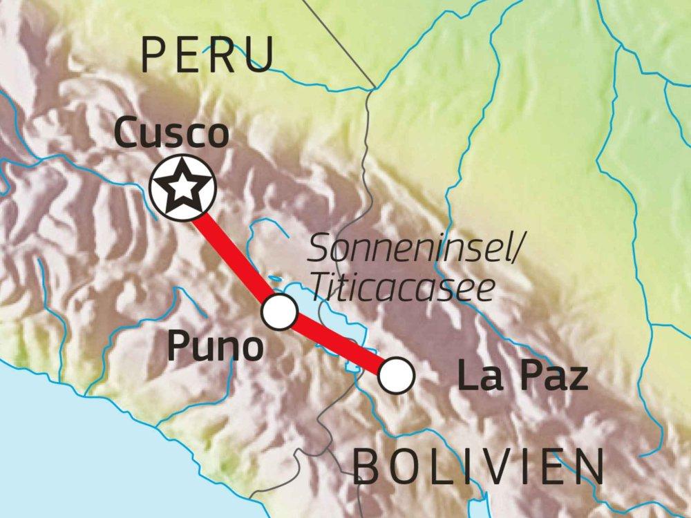 188B00025 Peru & Bolivien erfahren - Von Cusco nach La Paz Karte