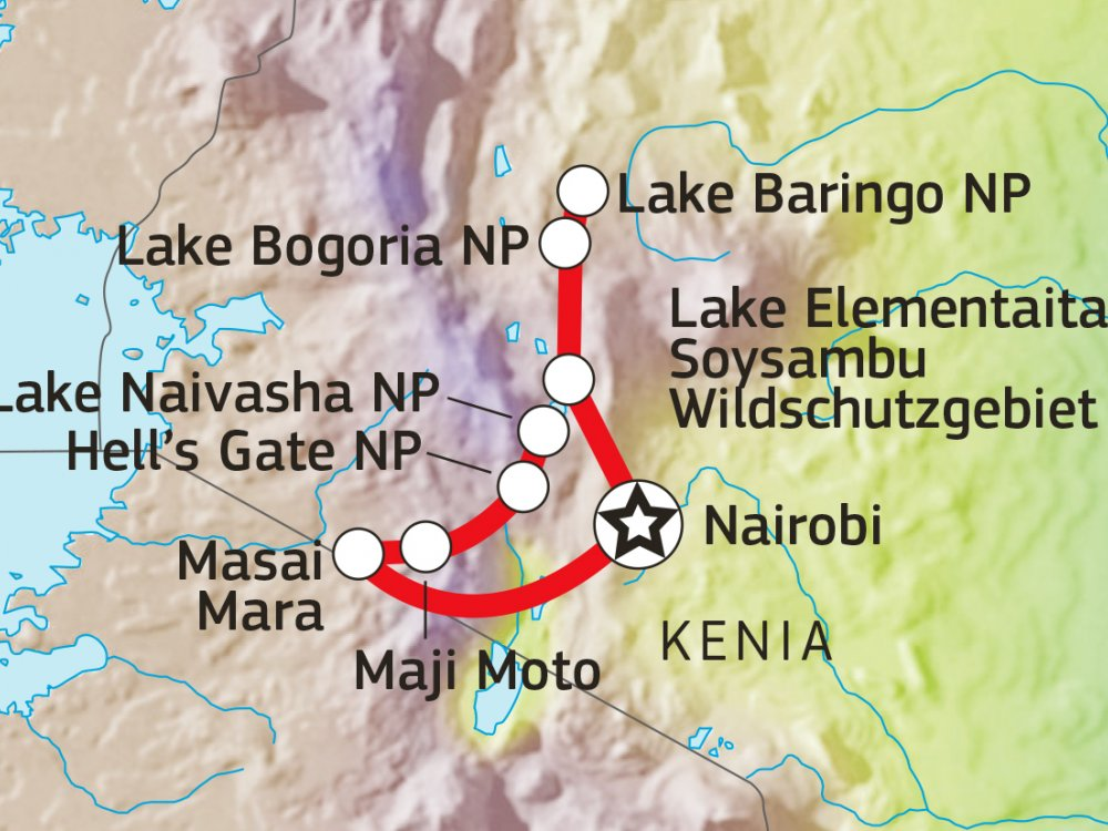 Rift Valley Masai Mara Safari Karte