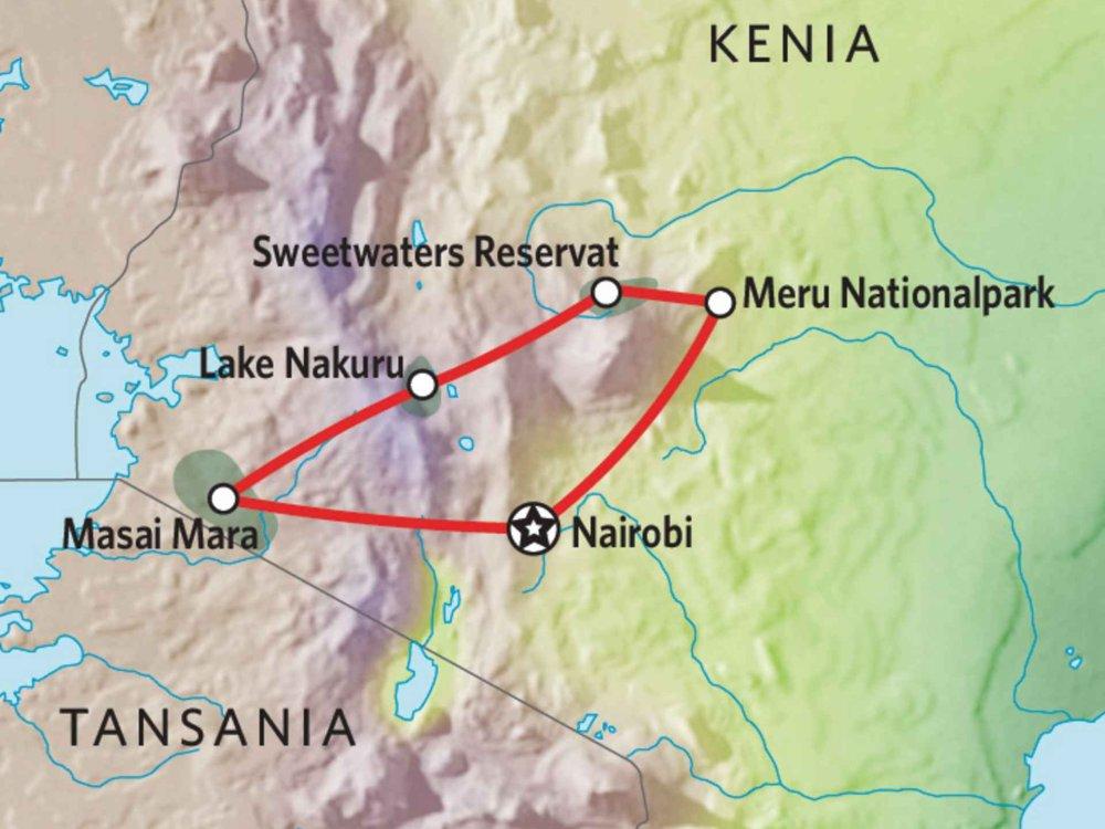 176Y10008 Kenia Lodge Safari VIII Karte
