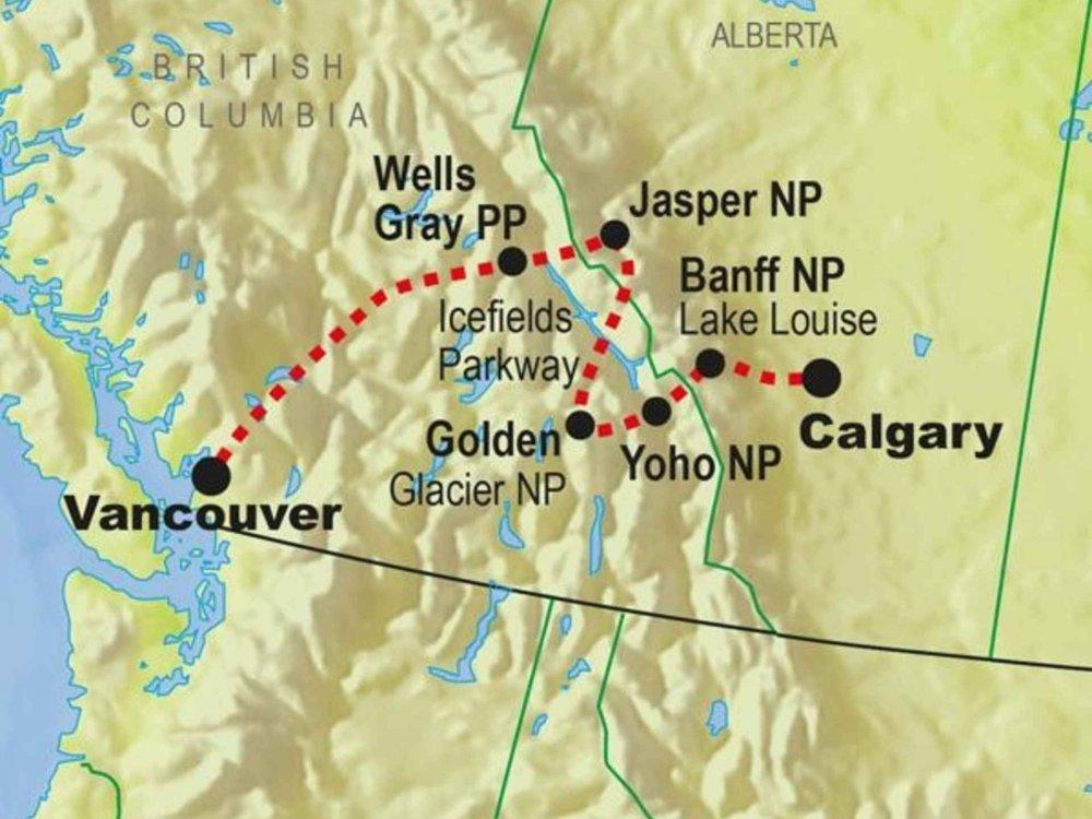 139G10060 Kanada aktiv - Nationalparks des Westens Karte