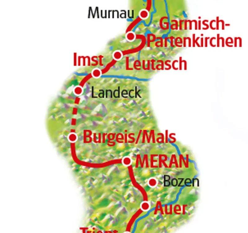 Radtour München Gardasee Karte