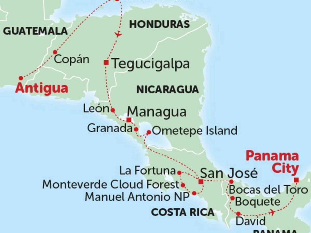 135Y10196 Von Antigua nach Panama City Karte