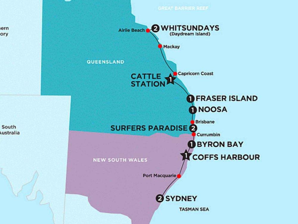 174Y10006 Entlang der Ostküste & Whitsundays Karte
