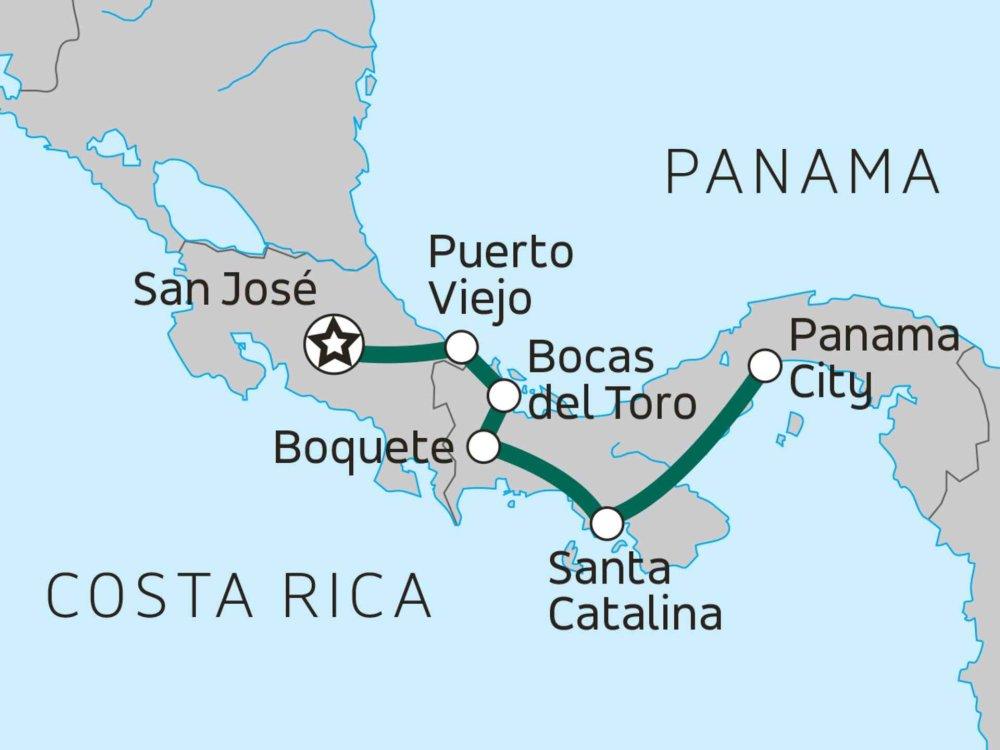 Entdeckungsreise Costa Rica & Panama Karte