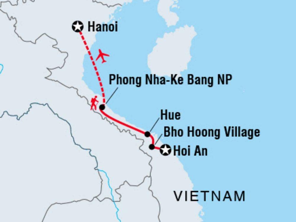 122Y40207 Erlebe Vietnam - Von Hoi An nach Hanoi Karte