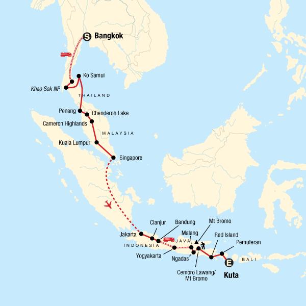 Backpacking Reise Südostasien: Thailand, Malaysia, Singapur, Indonesien Karte
