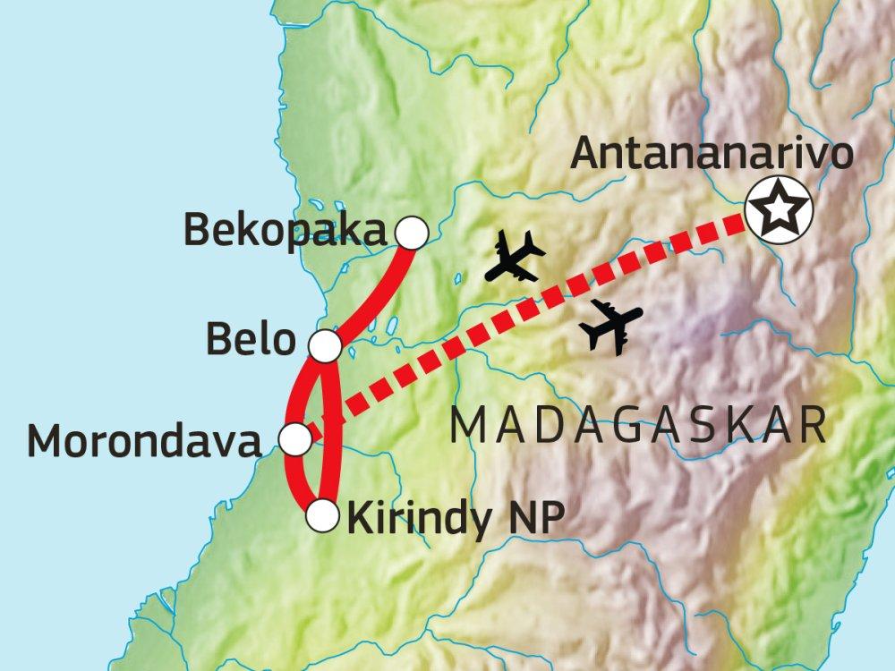 Madagaskar Tsingy de Bemaraha und Baobab-Allee Karte