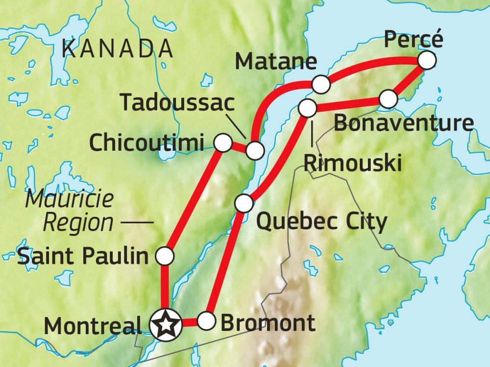 Naturerlebnisse Quebec & Halbinsel Gaspesie Karte