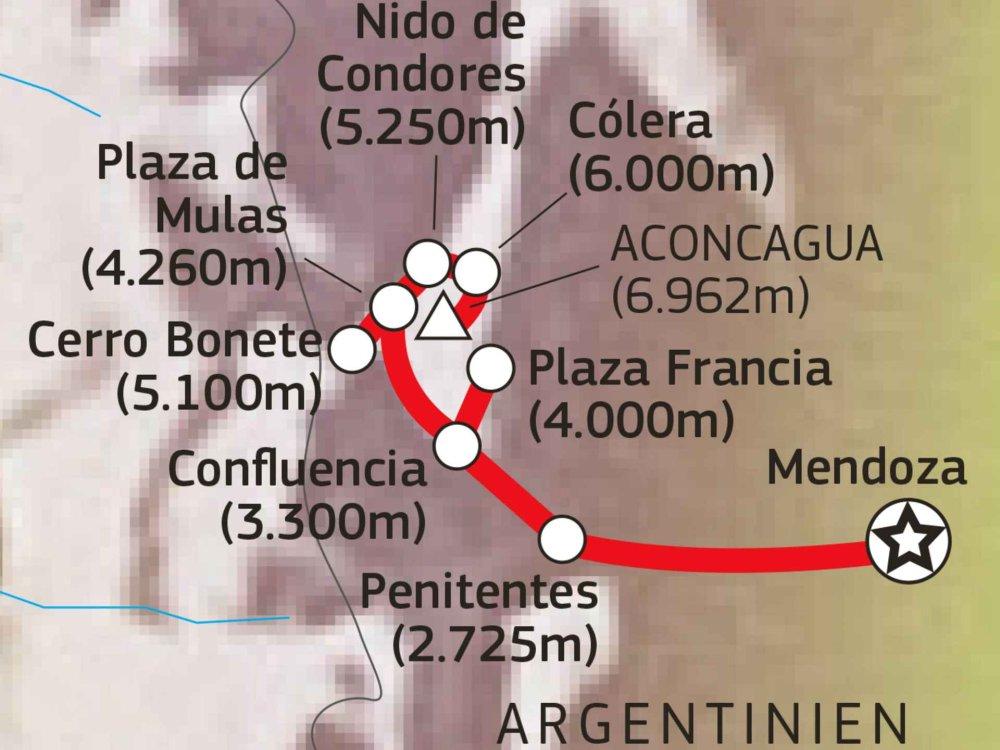 Aconcagua Besteigung Karte
