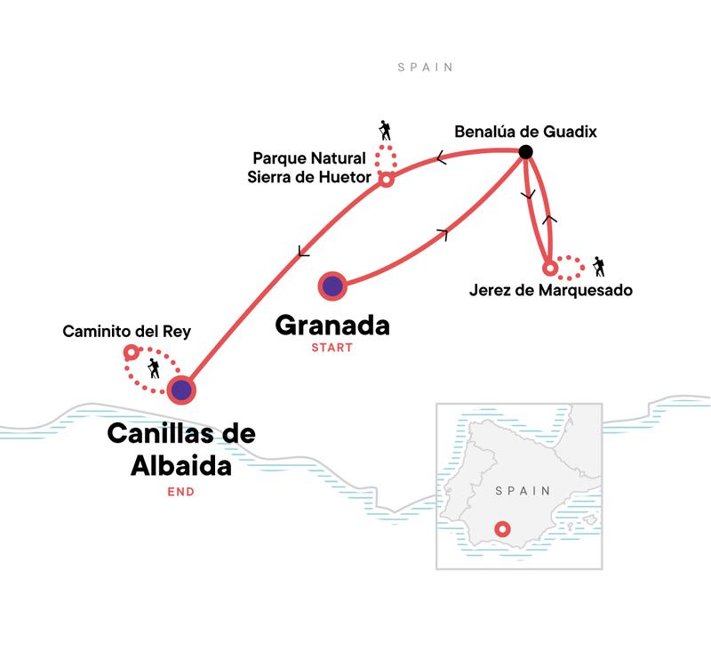 Wandern Andalusien Karte