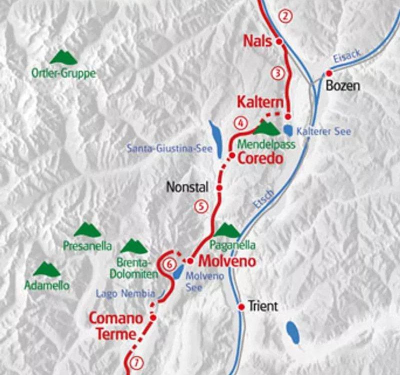 Karte Wandern von Meran zum Gardasee