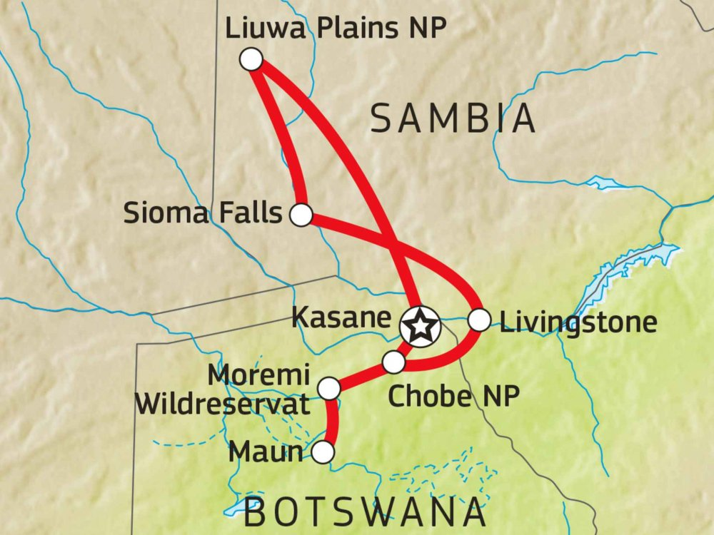 115E00008 Sambia & Botswana: Auf der Spur der Hyänen Karte