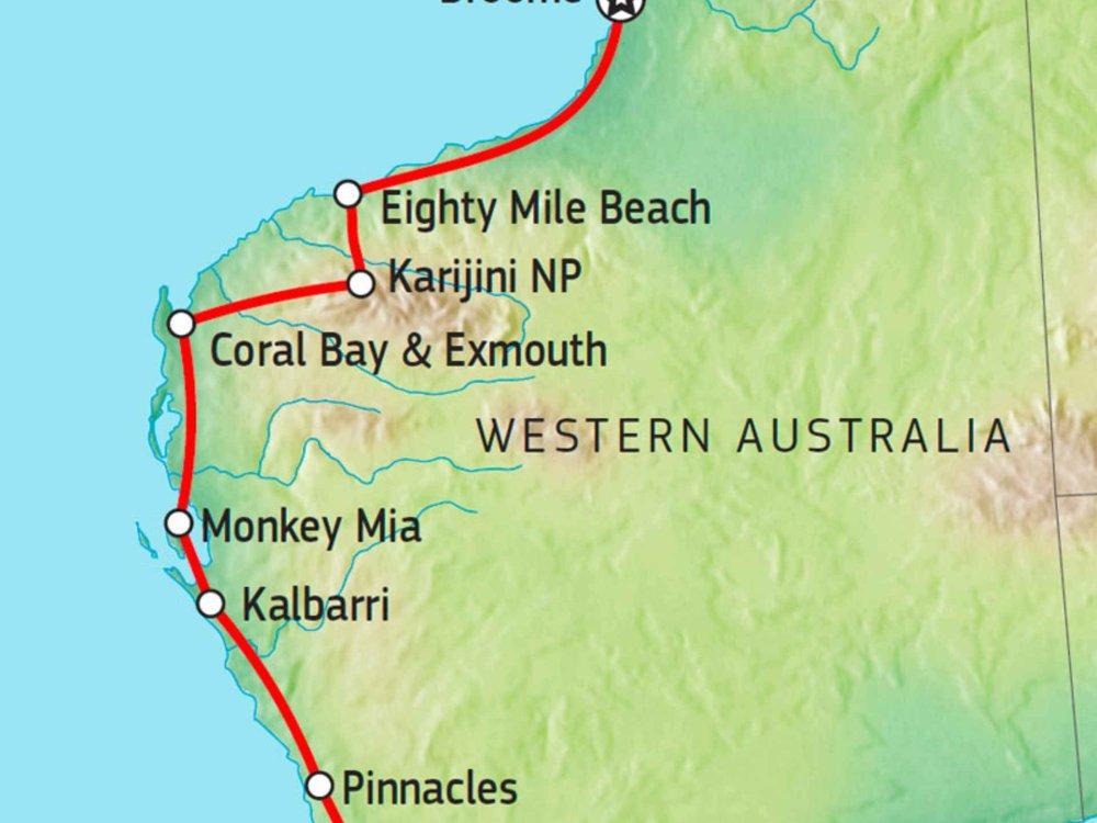 104Y20034 Von Broome nach Perth Karte