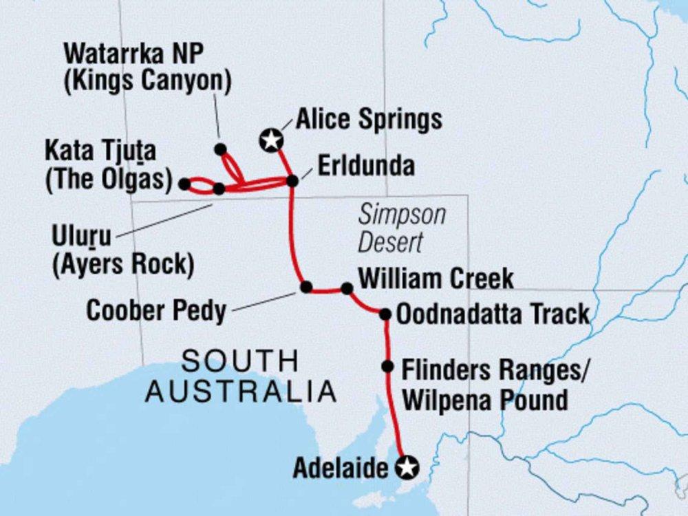 104Y20019 Roadtrip von Alice Springs nach Adelaide Karte