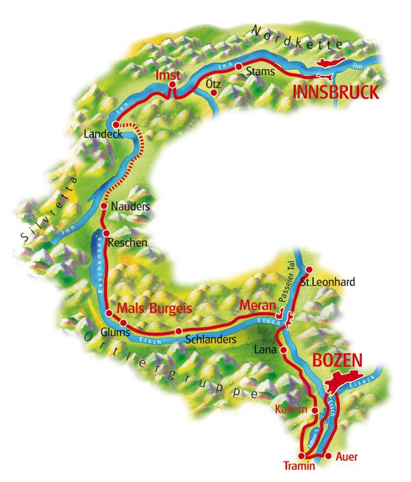 Etschradweg von Innsbruck nach Bozen Karte