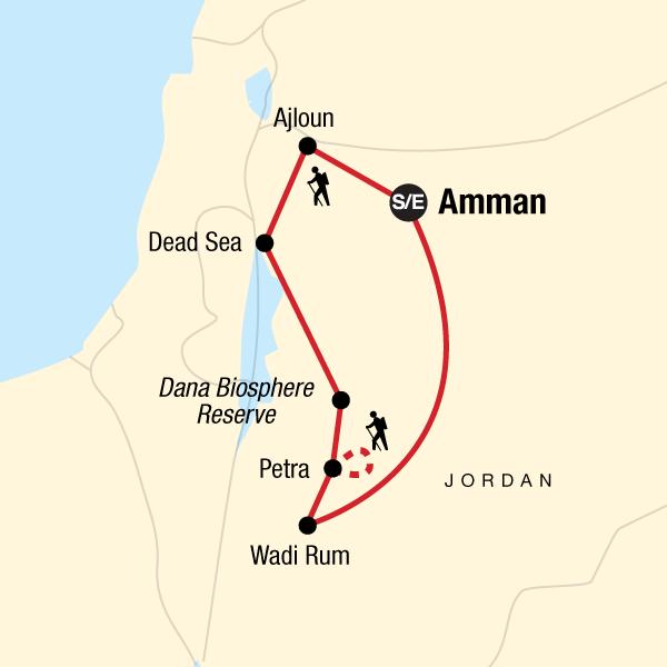 Jordanien Aktivreise Karte
