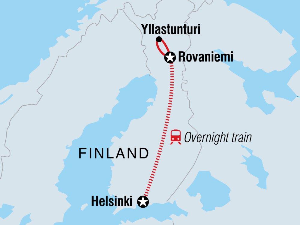 Finnisch Lappland Winterreise Karte