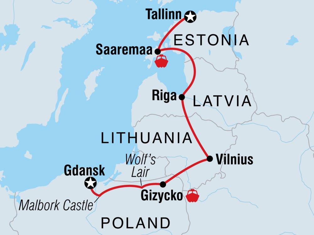 Durch Nord-Polen ins Baltikum Karte
