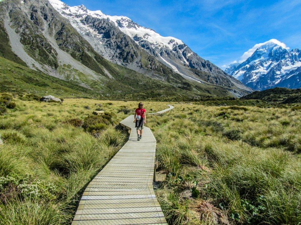 Wanderung auf dem Hooker Valley Track im Mt Cook Nationalpark