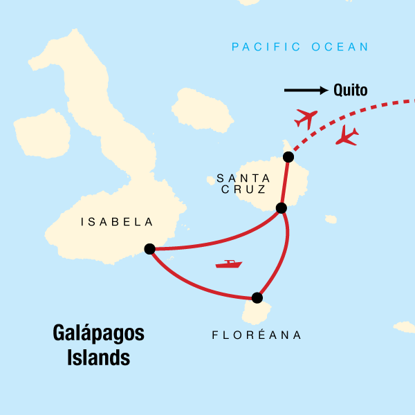 Galapagos Inselhüpfen Karte