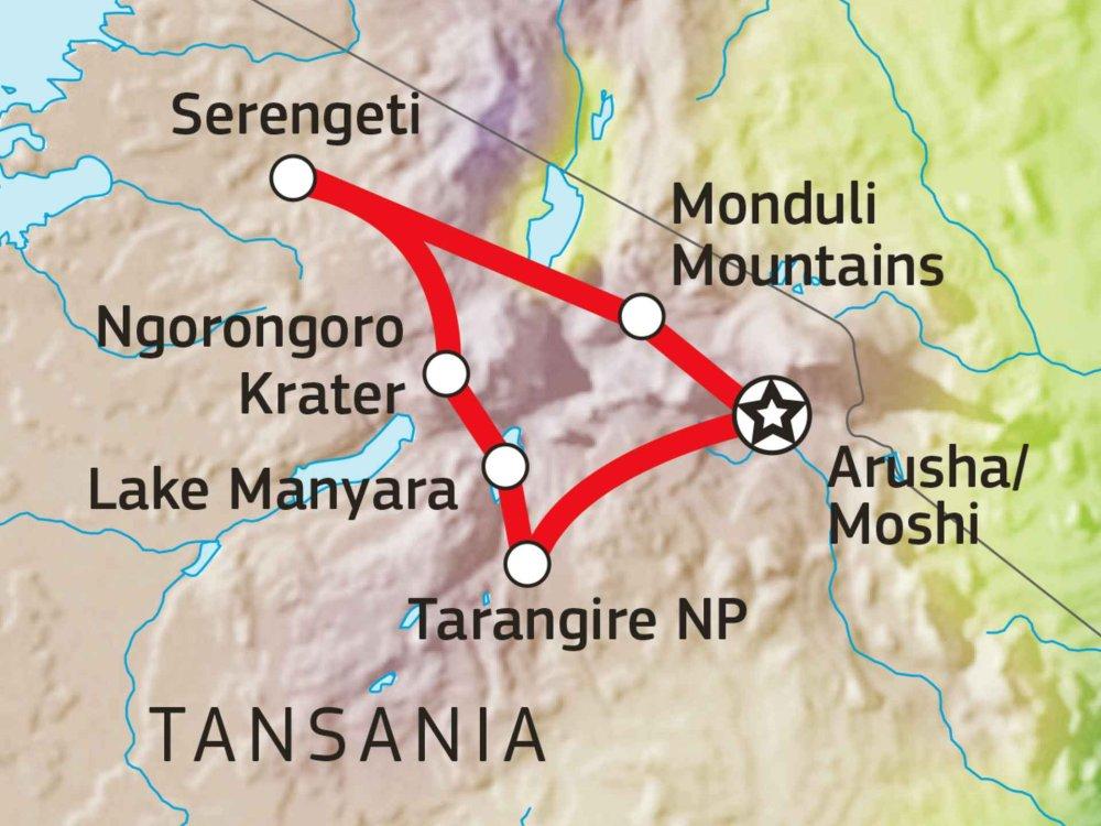 142Y10020 Nord-Tansania intensiv: Kultur & Safari Karte