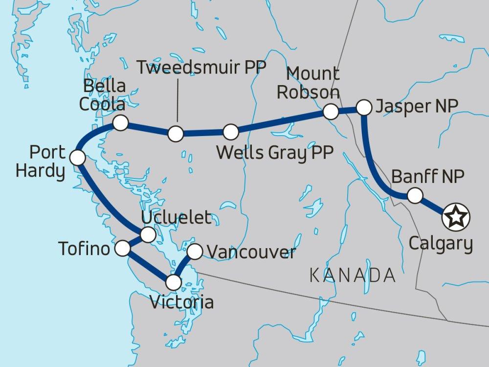 Westkanada Wildlife Vancouver Island Karte