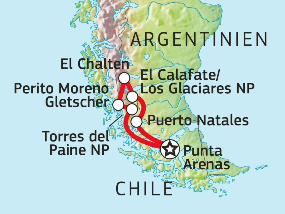 198Y50045 Roadtrip zu Patagoniens großartigen Nationalparks Karte
