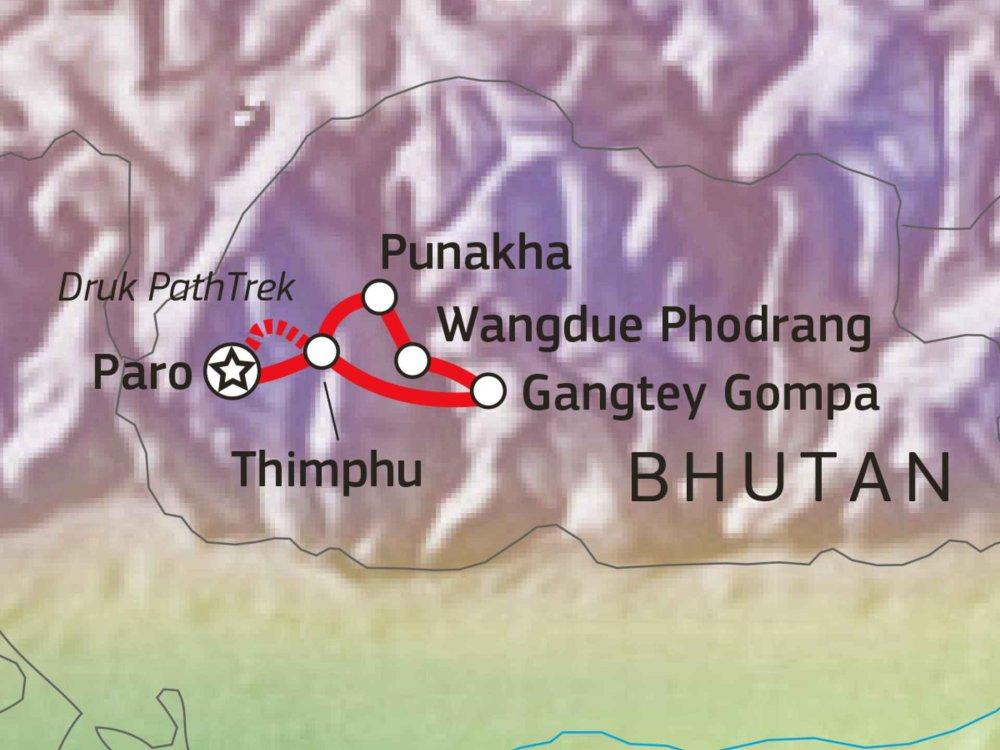 Trekking und Kultur im Königreich Bhutan Karte