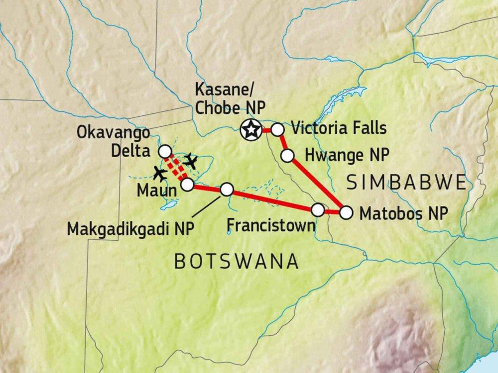 141Y10004 Botswana & Simbabwe auf eigene Faust Karte
