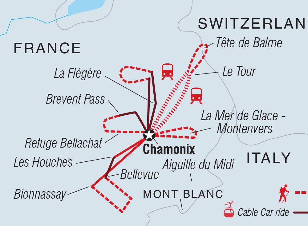Wandern Mont Blanc Karte