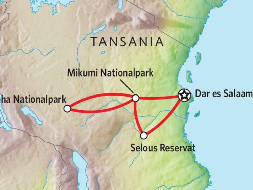 140Y21001 Tansania - Safari durch die Südlichen Nationalparks Karte