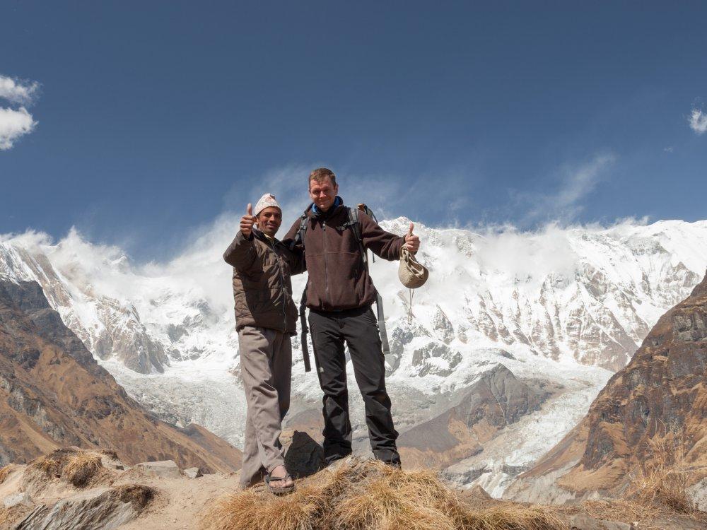 Wanderer auf der Annapurna Trekking Tour