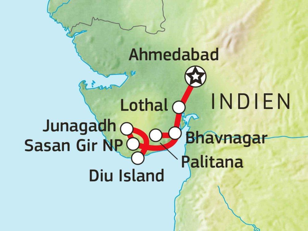 180T20070 Gujarat & Sasan Gir Nationalpark Karte