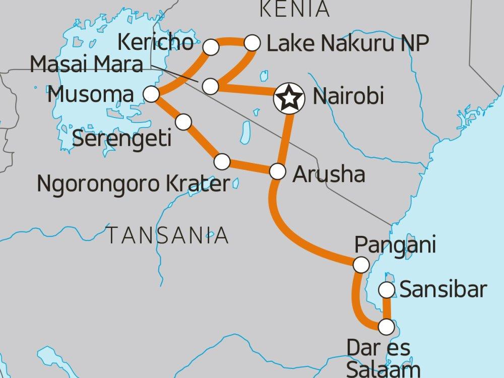 Mit dem Overland Truck durch Ostafrika Karte