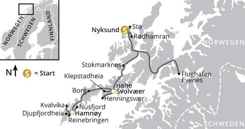 Lofoten Wanderreise Karte