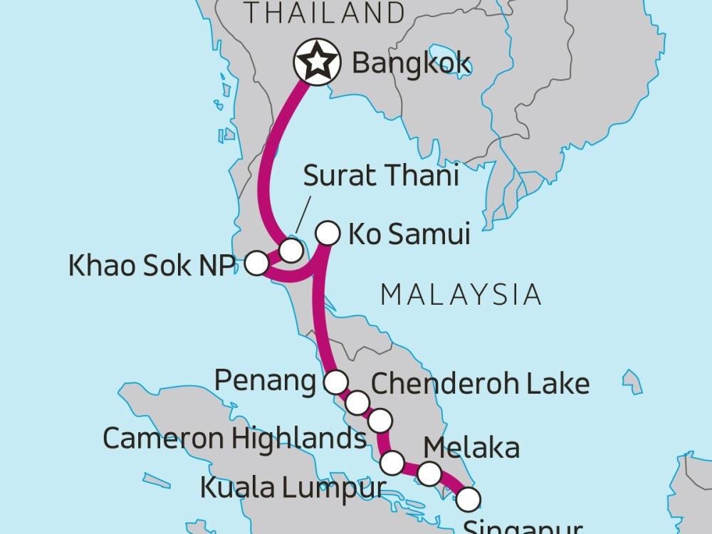 Erlebnisreise Thailand Malaysia Singapur Karte
