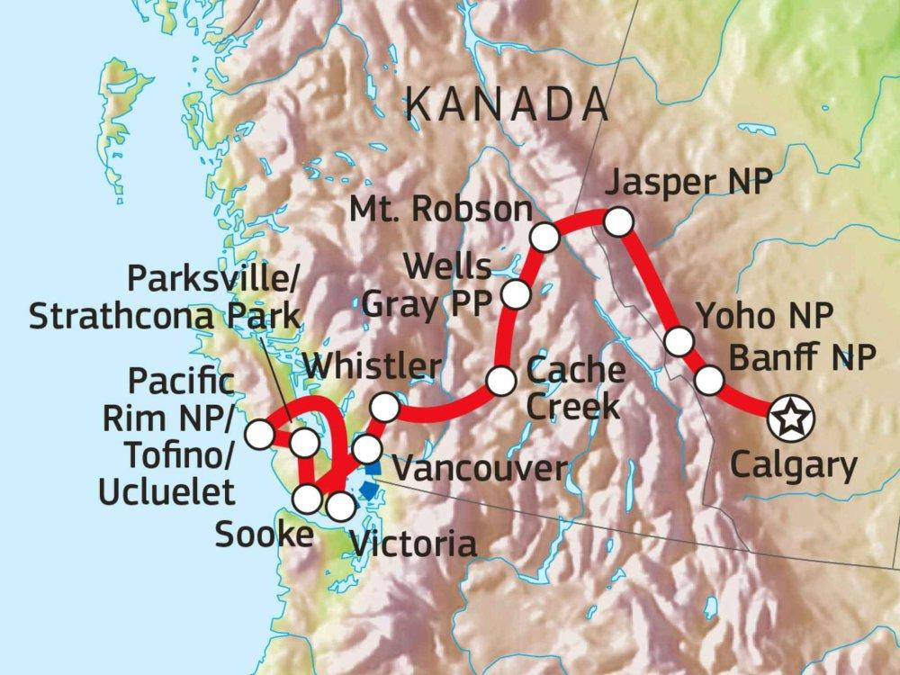 160A10006 Naturerlebnis Westkanada & Vancouver Island Karte