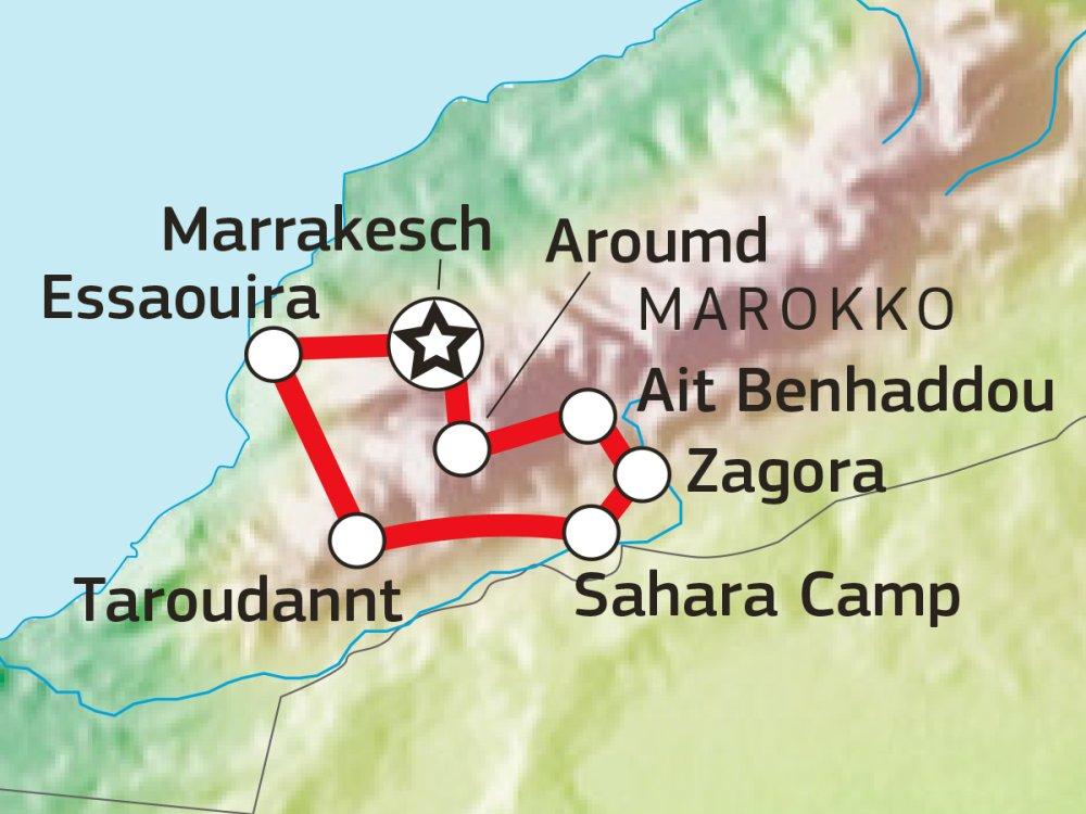 Den Süden Marokkos entdecken Karte