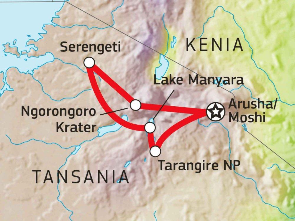 140S11004 Tansania Lodge Safari IV Karte
