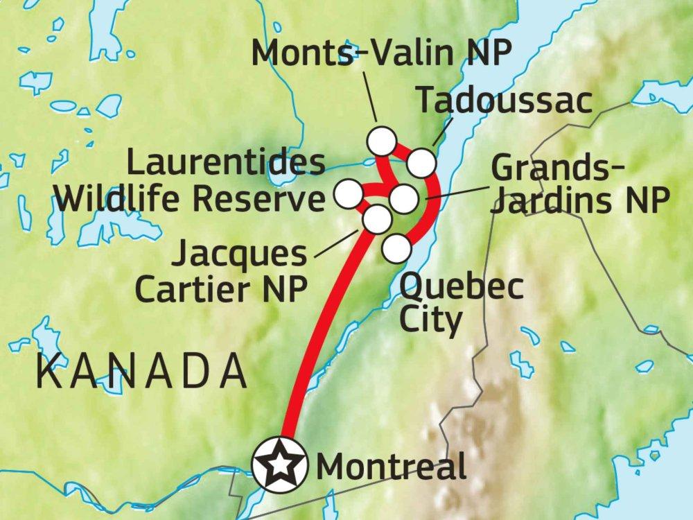 160A10015 Erlebnisreise durch Kanadas Provinz Quebec Karte