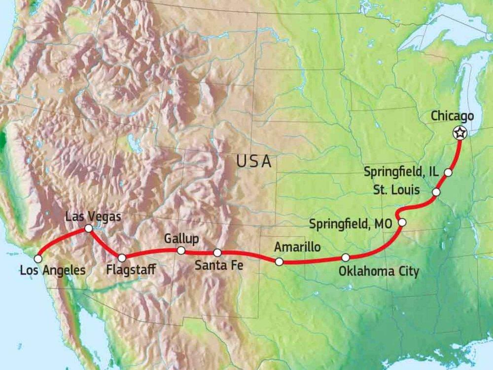 187R10003 Entlang der Route 66 Karte
