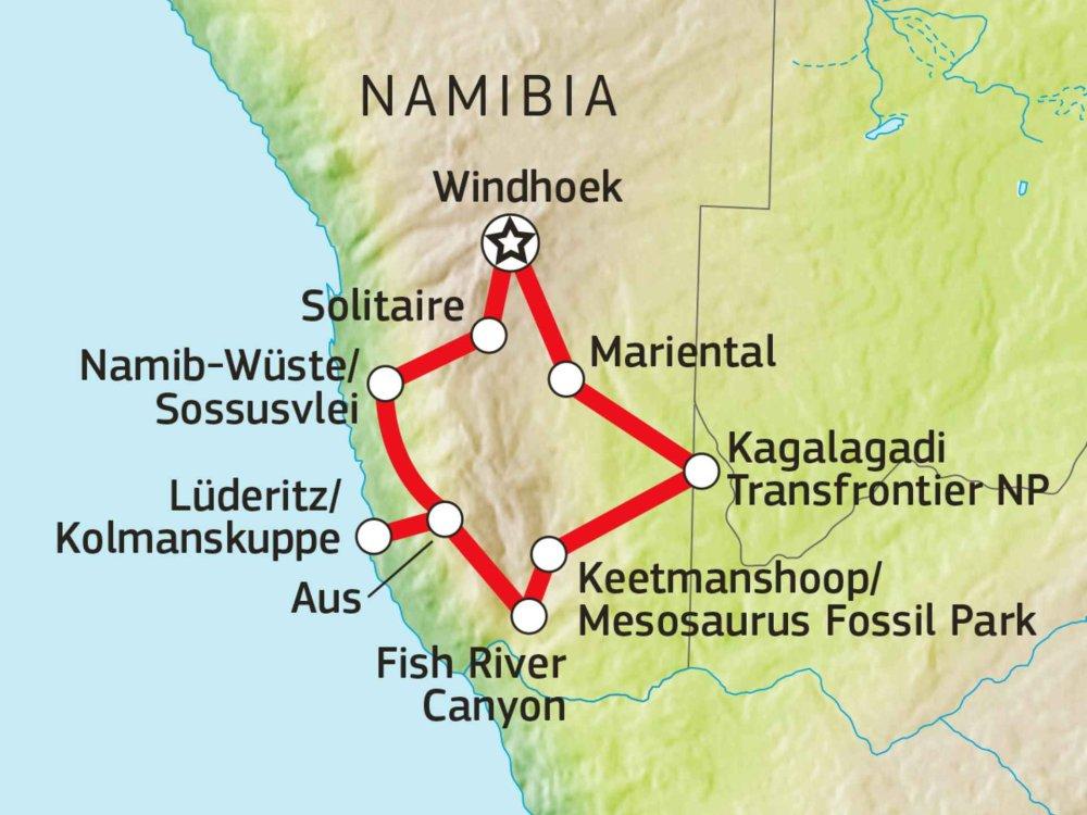 155Y31005 Namibia Aktivreise - Kgalagadi, Fishriver Trekking & Oranje Kanutour Karte