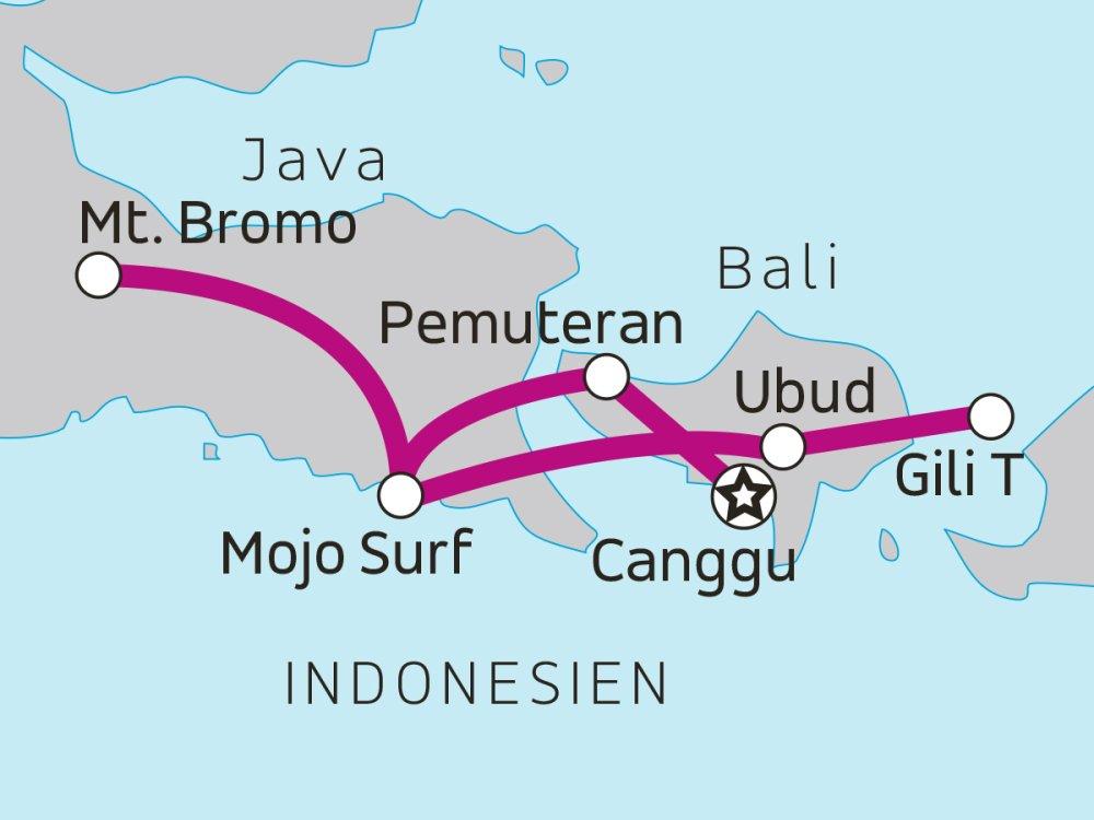 Erlebnisreise Ost-Java Bali und Gili Karte
