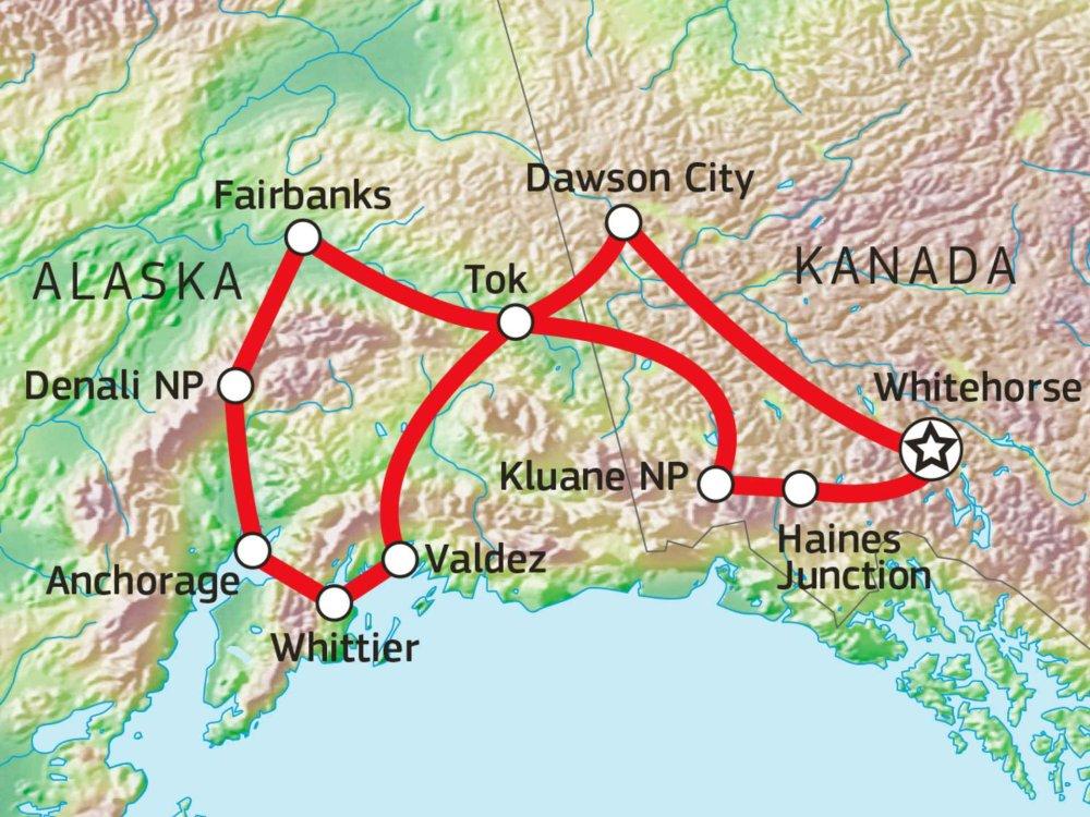187Y31008 Yukon und Alaska Entdeckerreise Karte