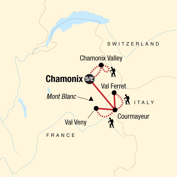 Bergwandern am Mont Blanc Massiv Karte