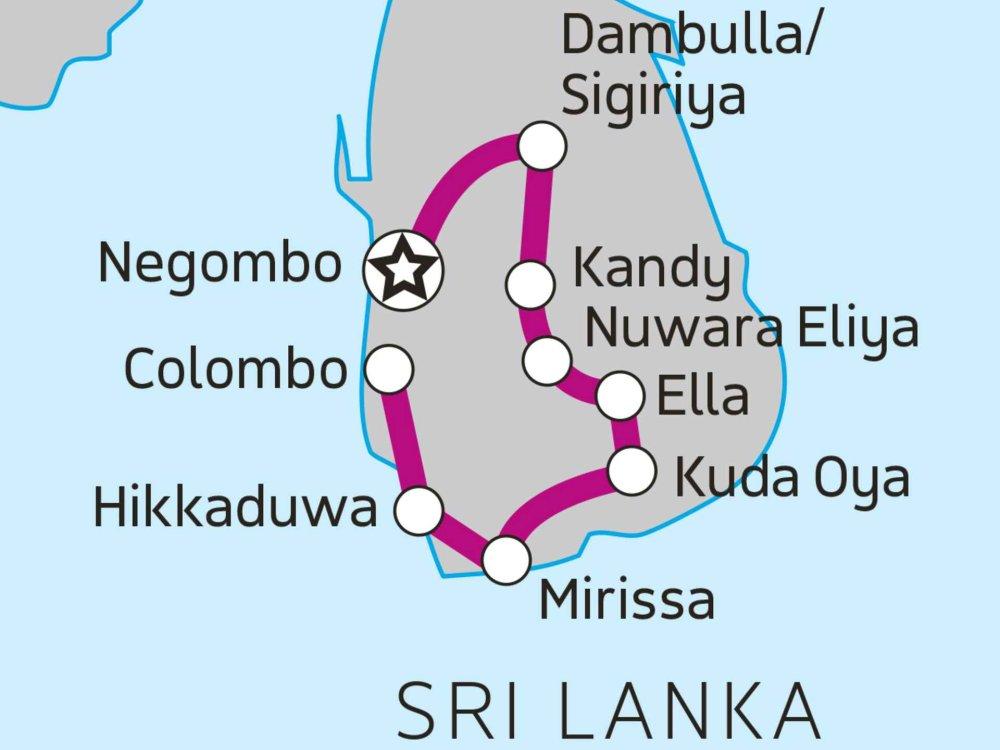 102A20025 Sri Lanka Entdeckerreise Karte