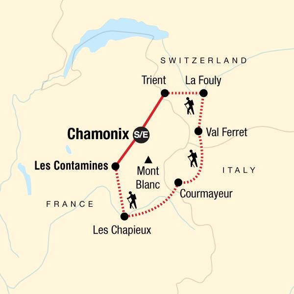 Karte Tour du Mont Blanc Trekking Karte