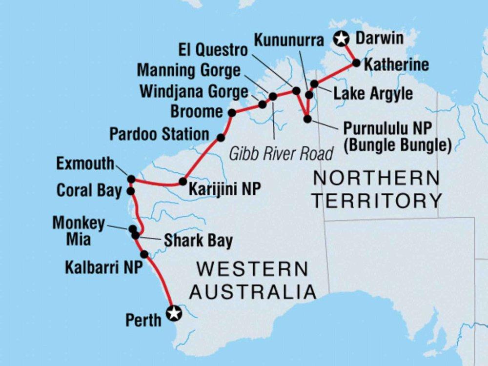 104Y20031 Von Darwin nach Perth Karte