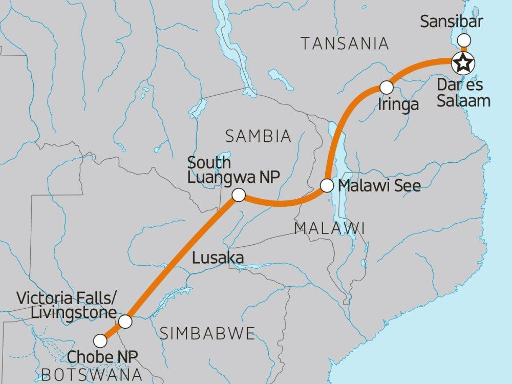 Abenteuerreise von Sansibar zu den Victoriafällen Karte