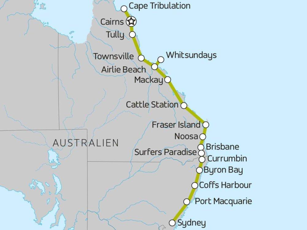 174Y10012 Riffe & Regenwald an der Ostküste von Australien Karte